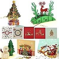 Tarjetas de Navidad 3D eZAKKA, Tarjeta de Felicitaciones 3D Pop-Up de Merry Christmas,Fiestas,Cumpleaños,Navidad,Festivales Pequeñas Tarjetas y Sobres Para Regalos, Paquete de 5 Unidades
