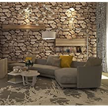 Retro Stone Stone Stone Marble Fossil Wallpaper Salon Bar Cafeteria Ladrillo Wallpaper Sandy Brown Frisos De Papel Pintado Papel Pintado