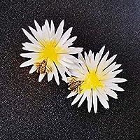 Bellis perennis - Boucles d'oreilles d'abeille - Bijoux tendance - Bijoux fleur marguerite - Boucles d'oreilles animaux