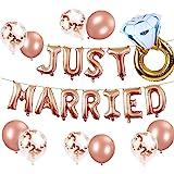 JeVenis Uppsättning av 12 nygifta ballonger nygifta banderoll möhippa fest ballonger möhippa fest dekoration bröllopsfest dek