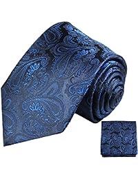 Paul Malone Krawatten Set 100% Seide blau paisley Hochzeitskrawatte mit Einstecktuch
