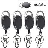 OFNMY Porte Badge Enrouleur Rétractable 4pcs Porte-badge Mousqueton Robuste avec Clip Porte-clés Yoyo Noir Ceinture pour Cart