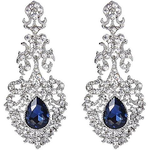 EVER FAITH® silver-tone di cristallo austriaco elegante del merletto Vuoto-fuori Tear Drop Chandelier Orecchini Blu - Diamante Gioielli Di Famiglia