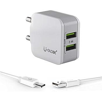 U-Globe 2.4 A Dual Port Usb Smart Wall Charge Adapter