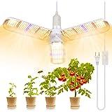 LED-växtlampa, 150 W växtlampa fullspektrum med 414 lysdioder vikbar för inomhusväxter, växthus och hydroponisk konstruktion,