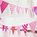 AMFIN® Party Bunting Flags Banner for Kids Room, Play School Decoration, Birthday Party, Baby Shower - Pink
