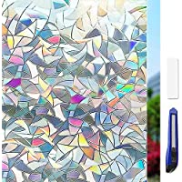 ulocool 3D Non-Adhesive Window Film Decorative Privacy Static Clings Window Stickers Colourful Decorative Frosted Pattern Glass Cover Glass Film Anti UV Mosaic Design 45 x 200CM