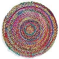 Tappeto intrecciato multicolore, diametro: 60 cm