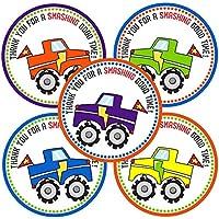 Adorebynat Party Decorations - EU Monster Truck le agradece las etiquetas - etiquetas del favor Joven fiesta de cumpleaños regalo de los niños - Set 30