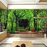 Lqwx Azulejos Paisajes Forestales Patrones Papel De Parede Papel Tapiz Para Paredes 3 D Estereoscópico Murales Papel Fotográfico Ventana Pisos-250Cmx175Cm
