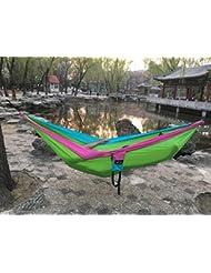 YZD La nueva hamaca doble del acampar de la hamaca portable que acampa al aire libre rápida del recorrido del paracaídas con la cuerda de nylon de los mosquetones y el bolso del engranaje , green