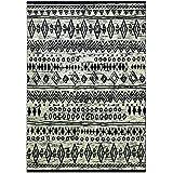 wecon Home Alfombra Contemporary Kelim WH de 0658–04, negro blanco, 80 x 150 cm