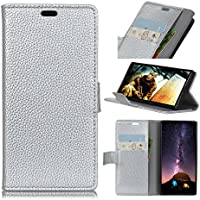 Forhouse Wiko View Wallet Leather Case with Protective Durable Shell Shell Folio flip Cell Phone Cover Bag with Card Slots,Cash Pocket,Silver
