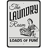 Laundry Room Loads of Fun Étain Mur Signe Affiche de Fer Métal Mur étain Panneau Attention Plaque Rétro décoration Murale pou
