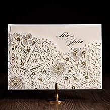 VStoy Laser Cut invitaciones de boda elegante flores dorado invitaciones a fiesta regalos de tarjetas para