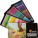 120 Lápices de Colores con Caja de Metal de Zenacolor - 120 Colores Únicos - Fácil Acceso con 3 Bandejas - Conjunto Ideal para Artistas, Adultos y Niños