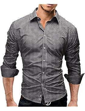 Merish Camicia Uomo, disegno speciale, a scacchi, Slim Fit 5 Colori Taglia S - XXL Modell 41
