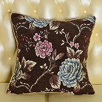 MeMoreCool lusso classico divano Cuscino Cover, Exquisite Jacquard Throw Pillow Cover con frange/Edge Tortiglione Decor, elegante federa, Cotone, coffee2, 24 inch by 24 inch