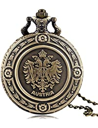 ShopyStore Antique Style Bronze The Double Eagle Quartz Pocket Watch Austria National Emblem Full Hu