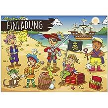 16 Einladungskarten Zum Kindergeburtstag   Motiv Piraten   Für Kinder,  Jungen, Mädchen, Schatzkarte