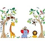 decalmile Boom en Jungle Dieren Muurstickers Aap Giraffe Olifant Muurtattoo Baby Kinderkamer Babykamer Kinderen Slaapkamer Wa
