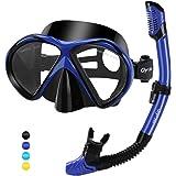 Glymnis Set Snorkeling Maschera Snorkeling Anti-Appannamento Kit Snorkeling Panoramica a 180° con Tubo di Respirazione a Secc