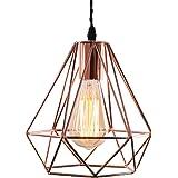 Vintage Industrielle Lampe Suspension Métal 3D Diamant Shape Lustre Douille E27 Eclairage Décoration pour Salon Chambre Resta