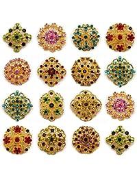 12 piezas MIX doradas con una tira de brillantes diamantes de imitación PIN broche con forma de Direct Hardware JOBLOT Suite DIY diseño de ramo de brillantes
