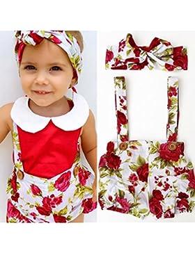 Gugutogo 2 teile/satz Hosenträger Shorts + Kopfschmuck mit Blumendruck für Babys (Farbe: rot & weiß) (Größe: 70)