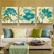 Flores Cuadro en Lienzo 50x50x1.5 cm - 3 partes - Impresion en calidad fotografica - Cuadro en lienzo tejido-no tejido
