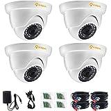 Anlapus 4-PACK Home Security Cameras, HD TVI 1080P Outdoor Dome CCTV Camera, Super Night Vision, Easy DIY Installation, Weath