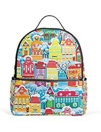 ALAZA Casas de colores Mochila invierno para School Bookbag