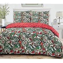 3pc Amazon Jungle aves silvestres mezcla de algodón edredón funda de edredón fundas de almohada Continental tamaño juego de cama, mezcla de algodón, 135 x 200cm