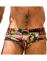 Taddle - Short corto para hombre, estilo calzoncillo, para natación y surf, caricaturas