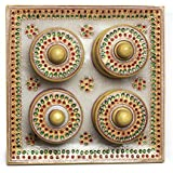 Beautiful Rajasthani Handcrafted Marble Dry Fruit Box With Meenakari And Kundan Works - Tray With 4 Containers By Mirracrafts