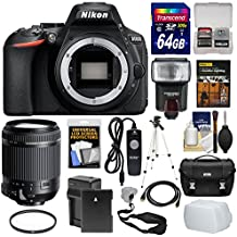 Nikon D5600 Wi-Fi Digital SLR Camera Body With 18-200mm VC Lens + 64GB Card + Case + Flash + Battery & Charger + Tripod + Kit