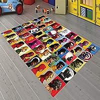 Veronya Süper Kahramanlar Desenli, Kaymaz Taban Çocuk Odası Halısı (100X200)