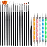 Pinkiou Nail Art Design Tools, 5pcs Nail Dotting Drawing Pens, 15pcs Nail Painting Brushes Set pour Manucure Pédicure Décorat