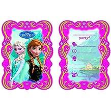 Juego de 6tarjetas de invitación de Frozen–La Reina De Hielo, para cumpleaños de niños, 6 invitaciones con 6sobres