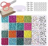 7000Pcs Glass Seed Beads, Letter Beads Kit for Bracelets Making with Colorful Bracelet String, 4mm DIY Bracele