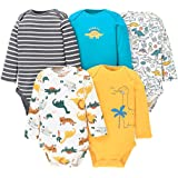 Paquete de 5 Bebé Body De Manga Larga Niños Mameluco Camisetas Paquete de Pijama Niñas Mono de Algodón 6-9 Meses