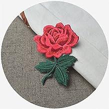 Rosa bordado Sew hierro en parche insignia chaqueta de cuello Busto vestido, diseño de flores, multicolor