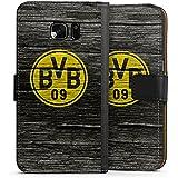 Samsung Galaxy S7 Flip Tasche Schutz Hülle Walletcase Bookstyle Borussia Dortmund BVB Holzoptik