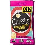 Cheesies - Snack de Queso Crujiente, Emmental. Sin Carbohidratos, Alto en Proteínas, Sin Gluten, Vegetariano, Ceto. 12 Bolsas