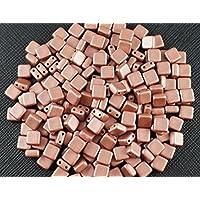 40 pz Tile Beads - Ceco pressato perle di vetro con due fori, piazza piastre (Due Fori Piastra)
