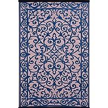 Green Decore - Alfombra de plástico ligera y reversible Gala para interior y exterior con diseño azul clásico\rosa oscuro - 150x240cm