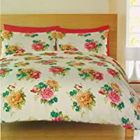 Mia Vintage Rose Print Duvet Set Luxury Bedding Set 300 Thread Count Bedding Single Bed Size Pink