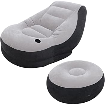 Everything Imported Inflatable Chair & Ottoman (Grey & Black, Standard)