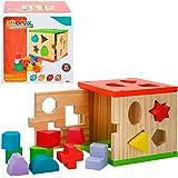 WOOMAX Cubo actividades de madera 14 piezas, multicolor (Colorbaby 42139)