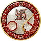 GiftNagri Marble Handcrafted Minakari Work Traditional 6 Inches Pooja Thali with Two Items